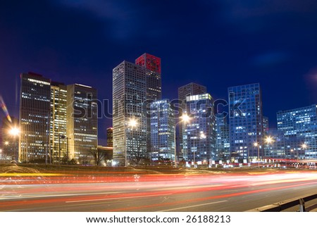 Traffic trough downtown in Beijing - stock photo