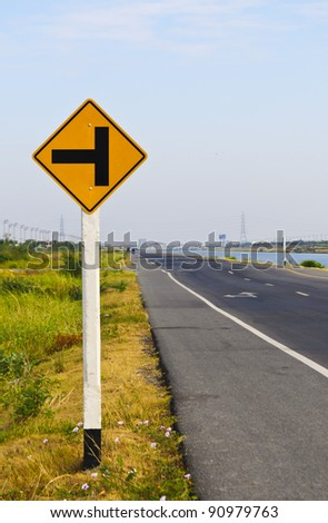 Traffic warning signs are for safe driving and traffic rules. - stock photo