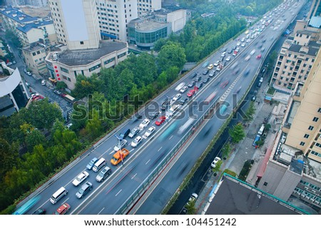 traffic with blur motion car - stock photo