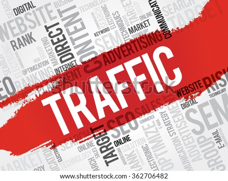 TRAFFIC word cloud, business concept - stock photo