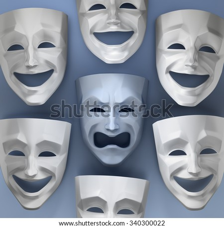 Tragedy Amongst The Fun. Comedian and tragedy theater masks on reflective glossy background. 3D rendered graphics. - stock photo