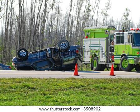 Tragic automobile accident - stock photo