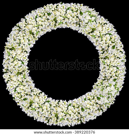 Tragic round funeral buttonhole frame  from white  jasmine flowers. Isolated on black