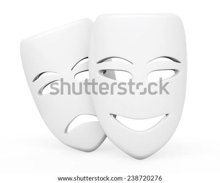 Tragicomic Theater Masks. Sad and Smile masks on a white background - stock photo