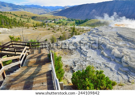 trail along the Grassy Spring in Mammoth Hot Springs area of Yellowstone National Park, Wyoming - stock photo
