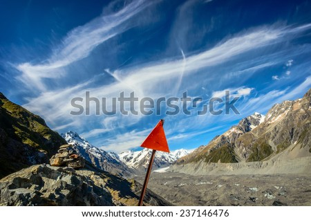 Trail guiding signs. Way to Mount Cook National Park, South Island, New Zealand - stock photo