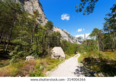Trail in Sarca Valley - Trentino Italy / Footpath and mountain bike trail near Arco and the Garda Lake in Sarca Valley (Valle del Sarca) in Trentino Alto Adige, Italy, Europe - stock photo