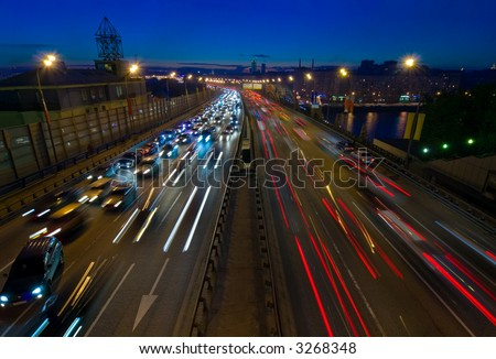 Trail lights of Moscow city traffic at dusk - stock photo