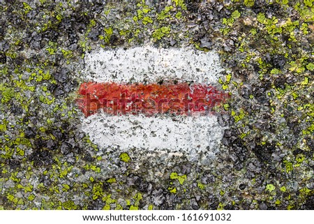 Trail marker in Tatra mountains - stock photo