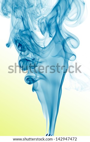 trail of blue smoke - stock photo