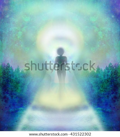 Trail of bulbs and man before Keyhole  - stock photo