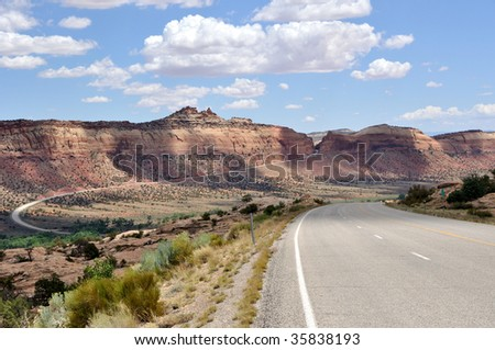 Trail of the Ancients Road and Comb Ridge - stock photo
