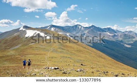 Trail Running in the Rocky Mountains, Colorado, USA - stock photo