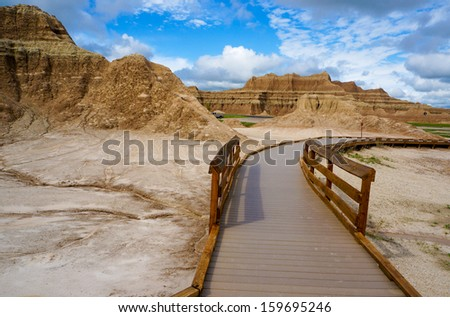 Trail starter of Badlands national park - stock photo