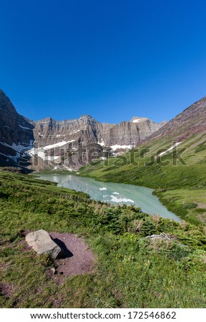 Trail to Cracker lake in Glacier national park, Montana