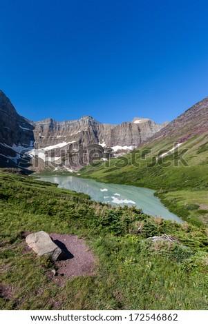 Trail to Cracker lake in Glacier national park, Montana - stock photo