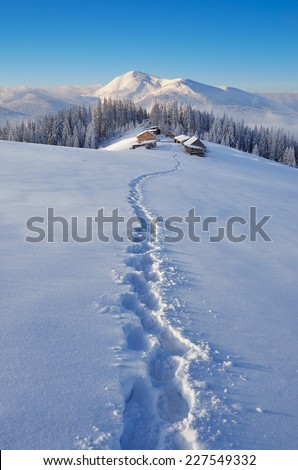 Trail to the mountain huts. Winter landscape in a fabulous location. Mountains Carpathians, Ukraine, Europe. Christmas view - stock photo