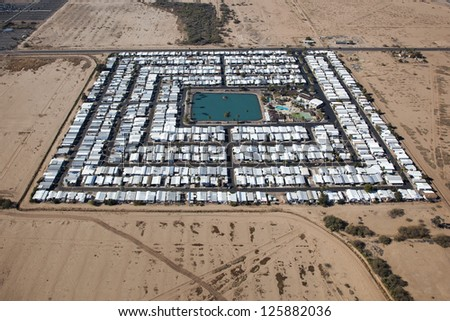 Trailer Park in the Arizona Desert as seen from above - stock photo