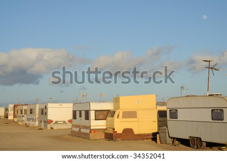 Trailer park on Canary Island Fuerteventura, Spain - stock photo
