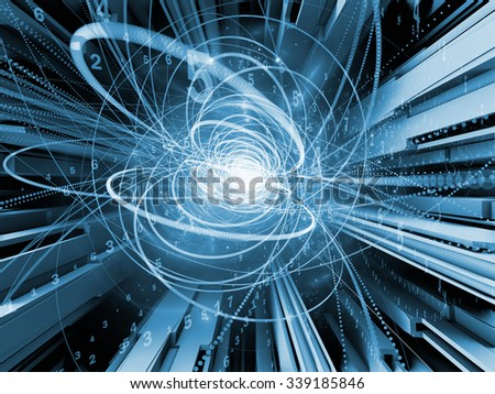 Trails of Technology series. Backdrop of particle trails, light and science related elements in three dimensional space on the subject of modern technology - stock photo
