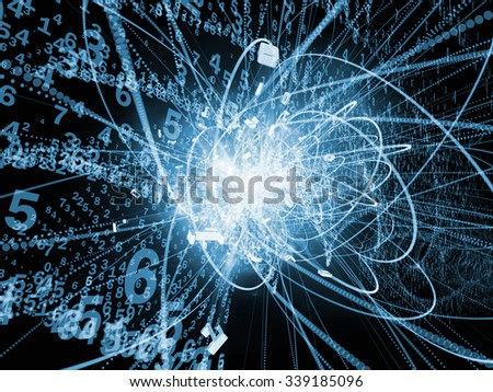 Trails of Technology series. Background composition of  particle trails, light and science related elements in three dimensional space on the subject of modern technology - stock photo