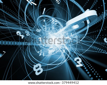 Trails of Technology series. Background design of particle trails, light and science related elements in three dimensional space on the subject of modern technology - stock photo