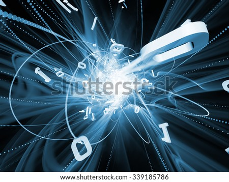 Trails of Technology series. Design composed of particle trails, light and science related elements in three dimensional space as a metaphor on the subject of modern technology - stock photo