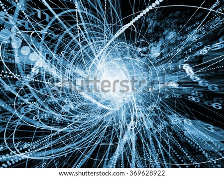 Trails of Technology series. Graphic composition of particle trails, light and science related elements in three dimensional space  for subject of modern technology - stock photo