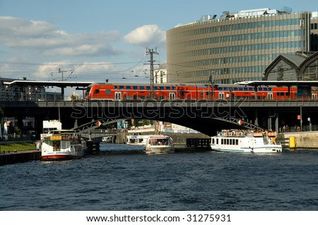 "Train and Boats on ""Spree"" in Berlin"
