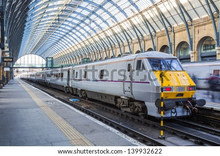 Train at King's Cross Railway Station - stock photo