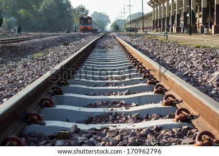 train at railway station - stock photo