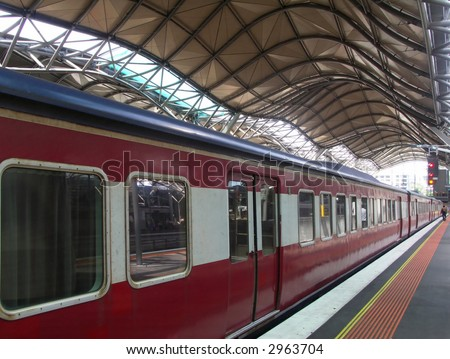 Train at Southern Cross Station, Melbourne - stock photo
