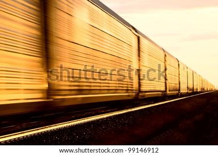 Train at Sunset late day Saskatchewan Canada - stock photo