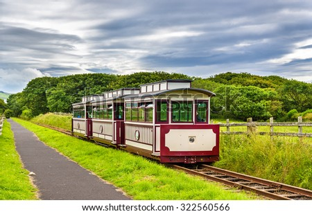 Train at the Giant's Causeway and Bushmills Railway, Northern Ireland - stock photo