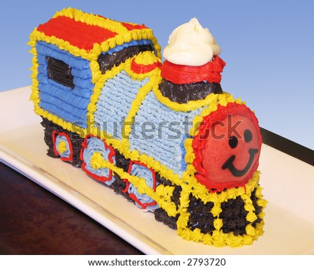 Train birthday cake with clipping path - stock photo