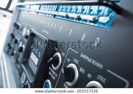 Train control panel close-up, macro - stock photo