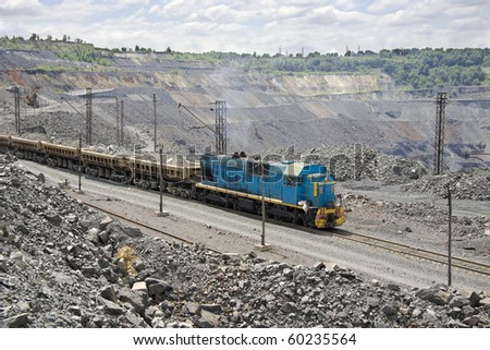 Train delivering the ore from the opencast mining site