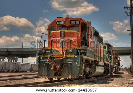 Train Engines in Kansas City - stock photo