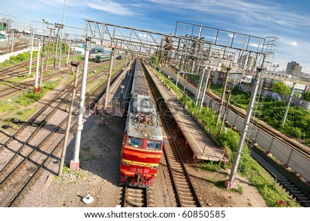 Train fastly leaving the station in Moscow - stock photo