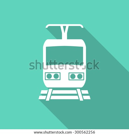 train flat design modern icon with long shadow for web and mobile app  - stock photo