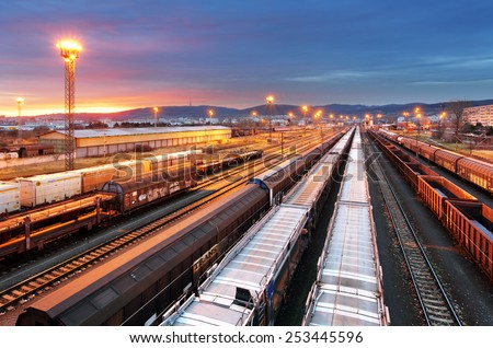Train freight - Cargo railroad industry - stock photo