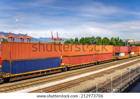 Train in a Freight Terminal - stock photo