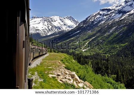 Train in Alaska - stock photo