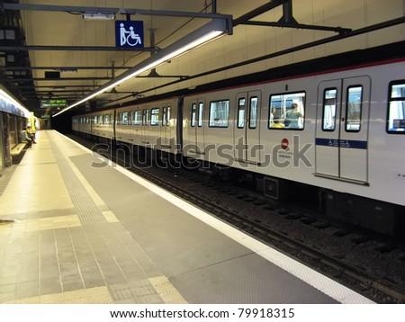 Train in Barcelona city underground - stock photo