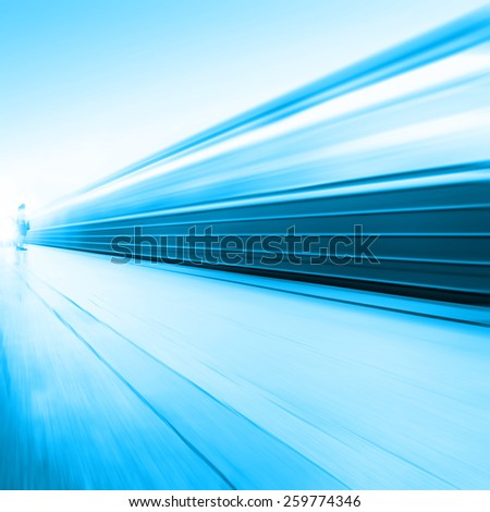 Train in motion blur and blurred people on background at subway station.  - stock photo
