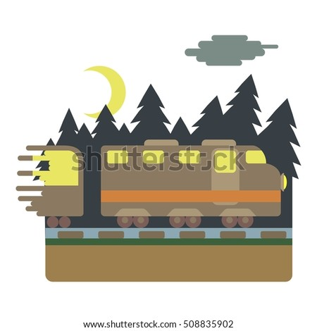 Train in night rides through forest concept. Flat illustration of train in night rides through forest  concept for web