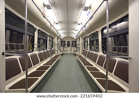 train inside the empty car - stock photo
