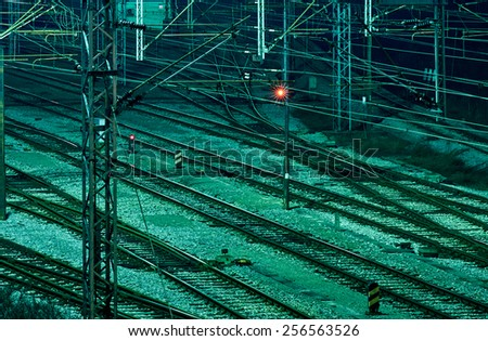 Train junction displaying red light in Zagreb, Croatia - stock photo