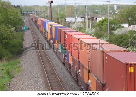 Train of Shipping Containers - stock photo