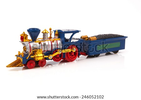 Train, old locomotive isolated on white background - stock photo